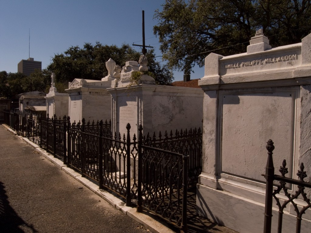 Row of gated tombs