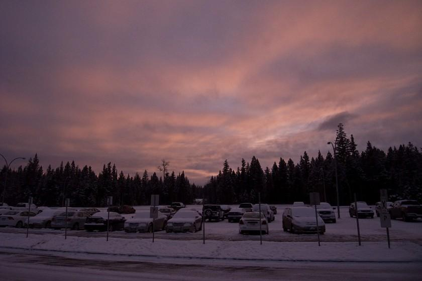 Sunset over the Williams Lake Aiport parking lot