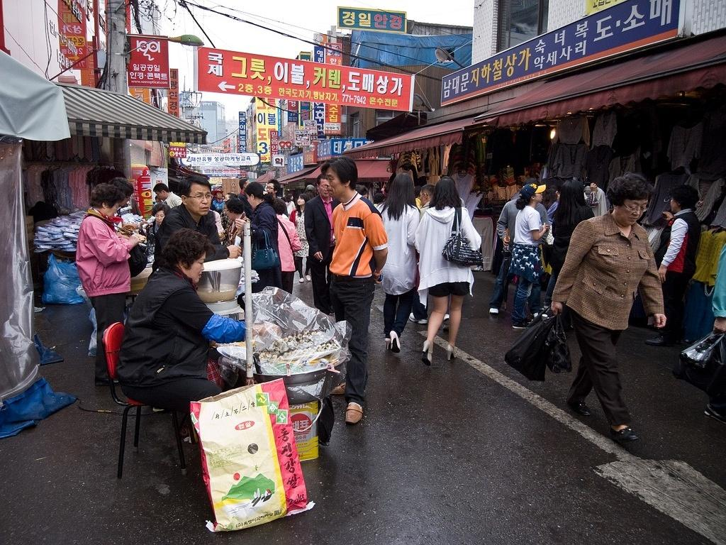 Buying gimbap in the market
