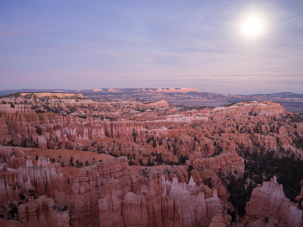 Bryce Canyon lit by moonlight