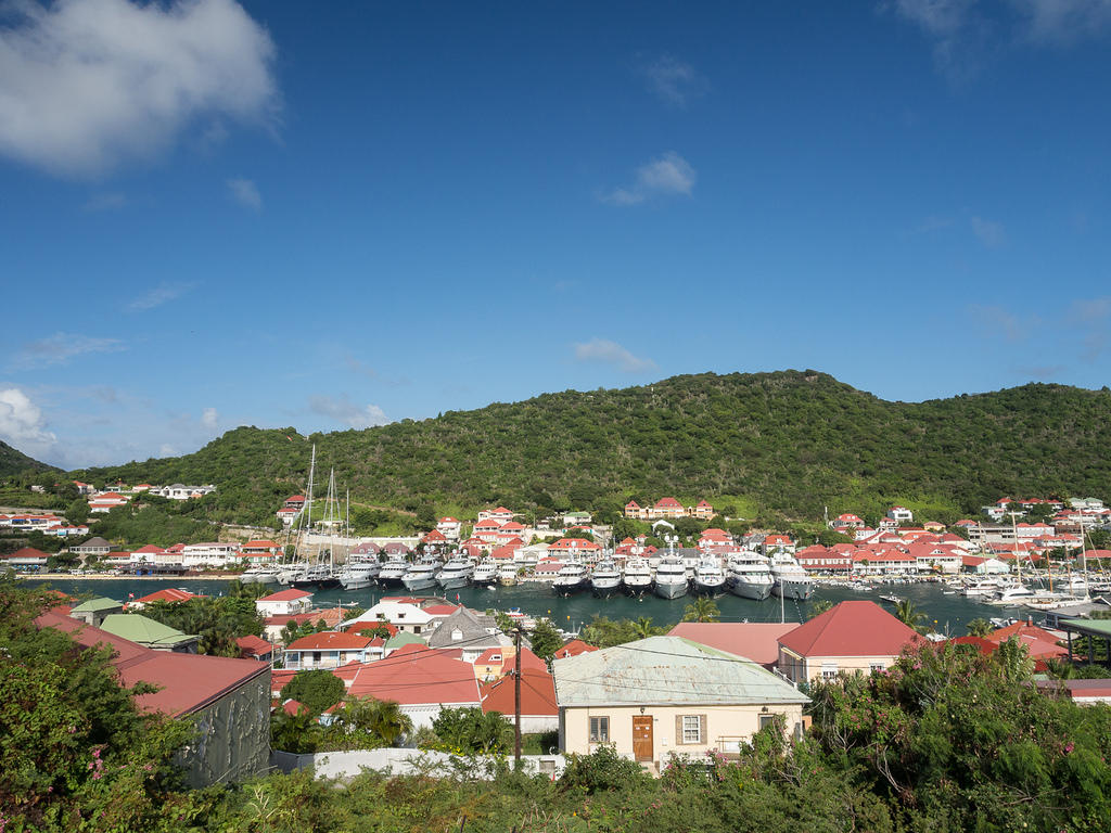 Luxury yachts in Gustavia Harbor