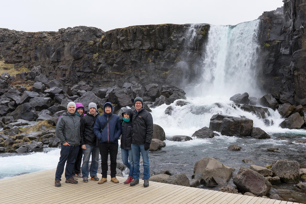 The whole group at Öxarárfoss