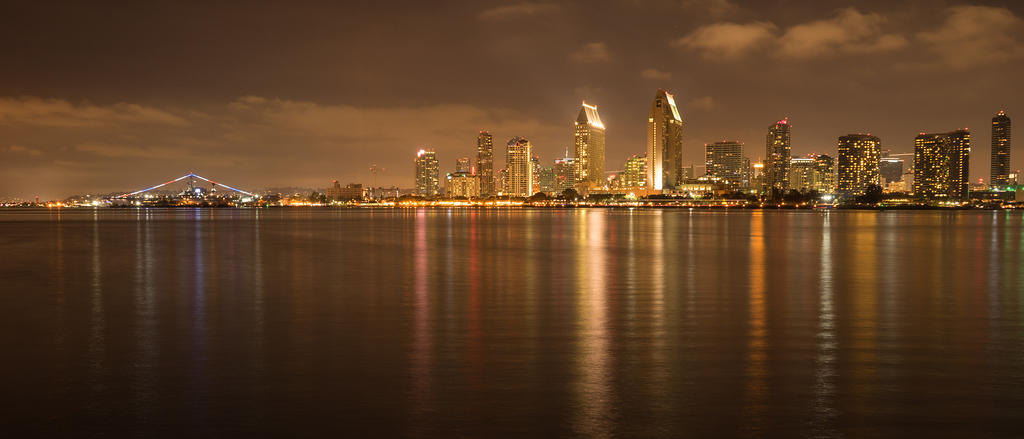 USS Midway and downtown San Diego