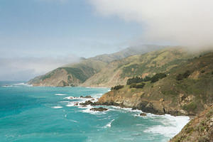 Foggy hills and the Bixby Bridge on the Big Sur coast