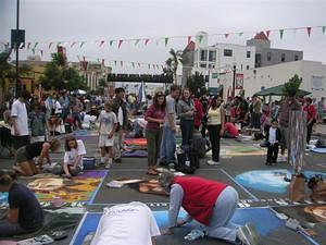 Little Italy chalk paintings