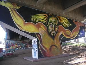Colossus painting in Chicano Park