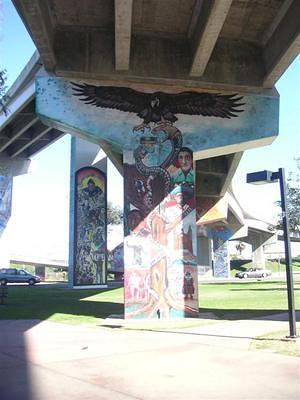 Snake and the golden eagle mural in Chicano Park