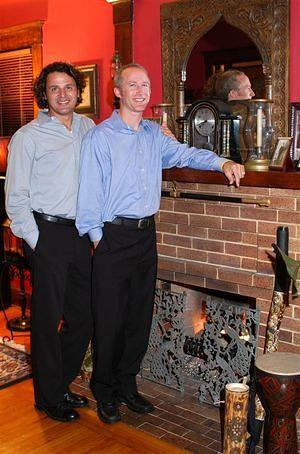 Pete and Paul at the fireplace