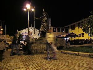 Statue of the Inka in Aguas Calientes