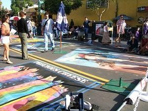 Street painting with chalk