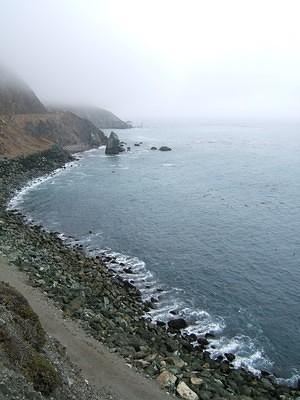 Ocean view with a big of fog off highway 1