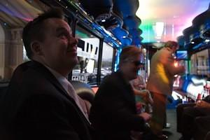 Dan and gang in the party bus