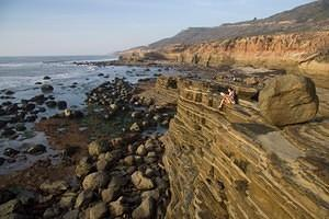 Layered cliffs and rocks above the Cabrillo tide pools