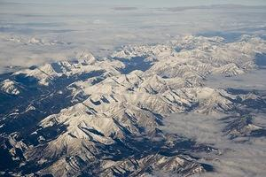 Flying over the Rocky Mountains