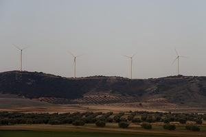 Modern windmills near Madrid