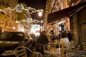 Sidewalk cafe at night