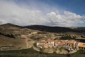 Morella's bullring and old city walls