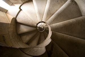 Looking back up the spiral staircase