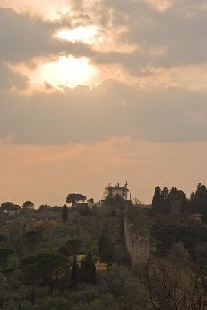 Old walls and sunset from Piazzale Michelangelo