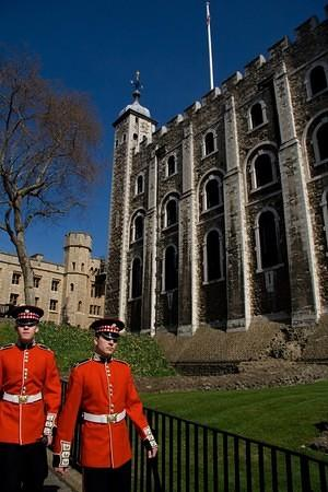 Red guards around the white tower