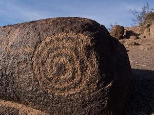 Concentric spiral petroglyph