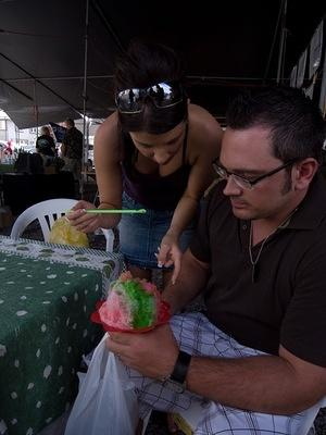 Brooke and Greg sharing a shave ice