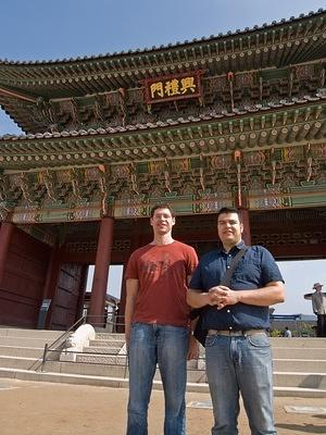 Colan and Chris in front of Gyeongbokgung's gate