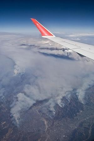 Flying over the fires