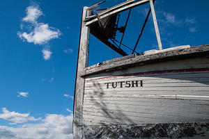 Burned out hull of SS Tutshi paddle wheel