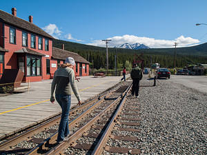 Dannica walking the tracks at Carcross