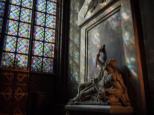 Statue with stained glass light