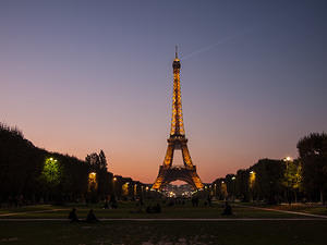 Eiffel tower from parc du Cahmps de Mars