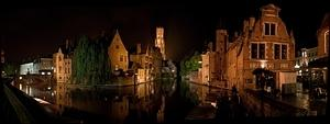 Bruges canal night panoramic