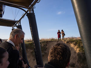 Saying hello to the hikers from the balloon