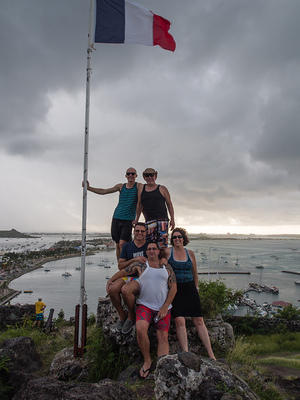 Paul, Louis, Pete, Anna, and Mike on top of Fort Louis, Marigot