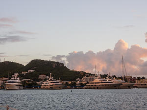 Superyachts in harbor