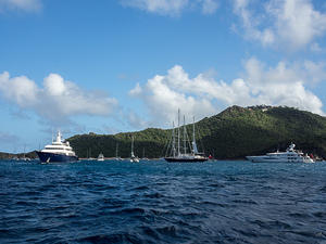 Luxury yachts anchored at Anse de Colombier