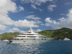 "Luxury yacht ""Titan"" anchored off Saint Barthélemy"