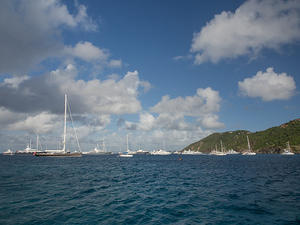 Luxury yachts anchored off Saint Barthélemy