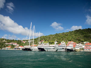 Megayachts anchored in Gustavia, Saint Barthélemy