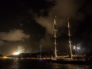 New years fireworks over Gustavia Harbor