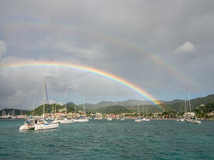 Rainbow over Marigot's harbor
