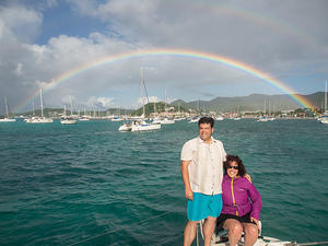 Chris and Anna under the rainbow