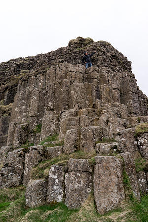 Pete climbing the dwarf cliffs