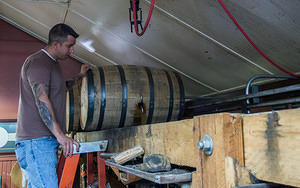 Pouring out a single barrel for Blanton's bourbon