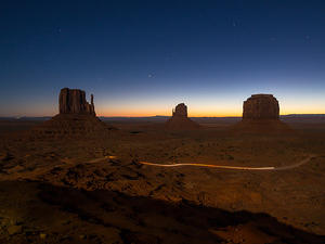 Before daybreak at Monument Valley's mittens - long exposure