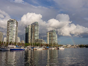 Vancouver skyline with a hint of rainbow