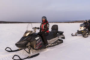 Dannica on her snowmobile