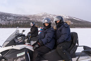 Greg, Brooke, and Randi snowmobiling