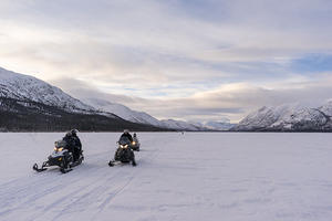 Snowmobiling on Fish Lake